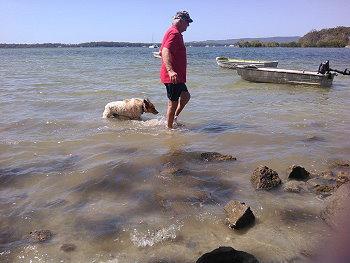 Oscar and Paul at the beach
